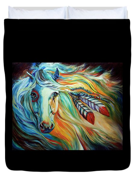 Breaking Dawn Indian War Horse Duvet Cover