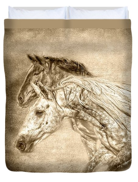 Breaking Free Sepia Duvet Cover by Eleanor Abramson