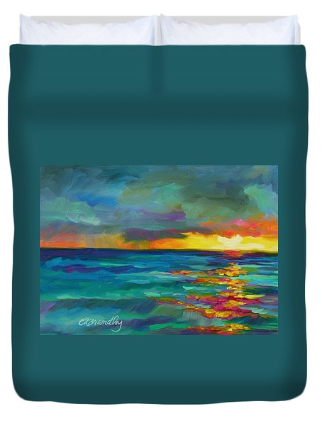 Duvet Cover featuring the painting Breaking Light by Chris Brandley