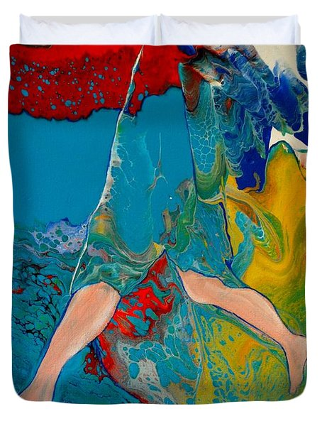 Duvet Cover featuring the painting Breaking Through by Deborah Nell