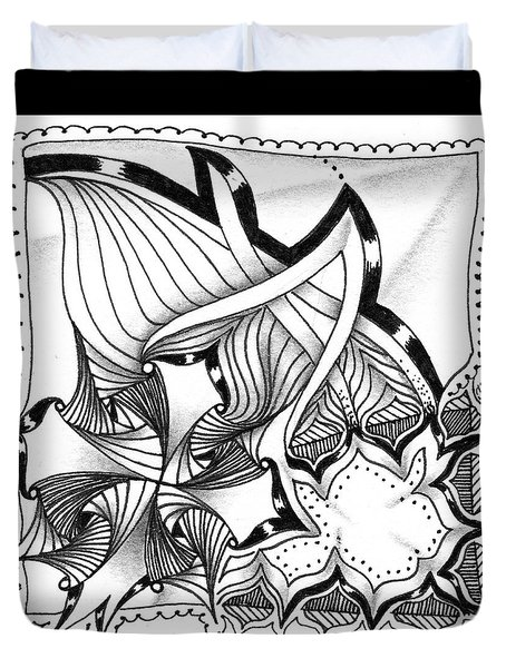 Duvet Cover featuring the drawing Breakthrough by Jan Steinle