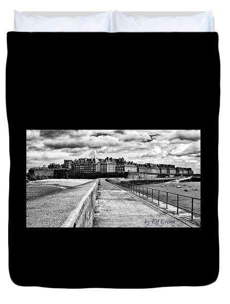 Duvet Cover featuring the photograph Breakwater Walkway To Intra Muros by Elf Evans