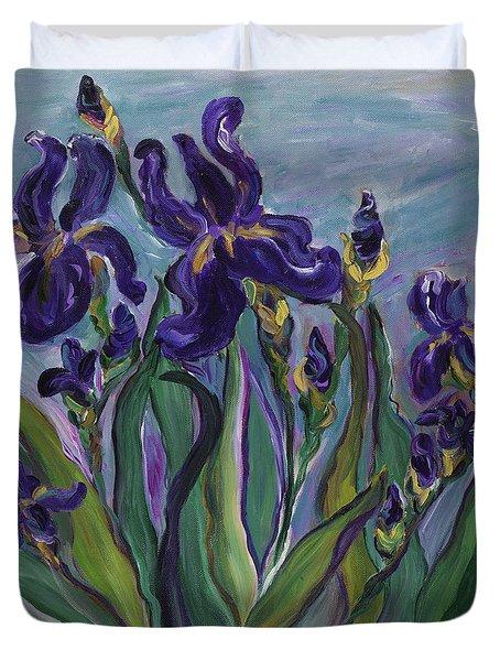 Breath Of Iris Duvet Cover by Bev Veals