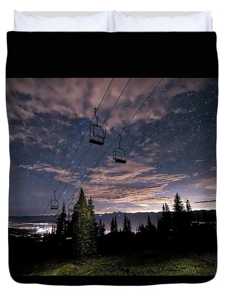 Breckenridge Chairlift Under Stars Duvet Cover