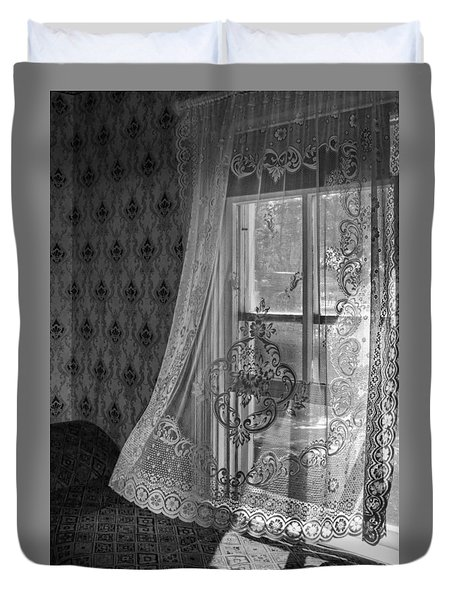 Breeze - Black And White Duvet Cover by Nikolyn McDonald
