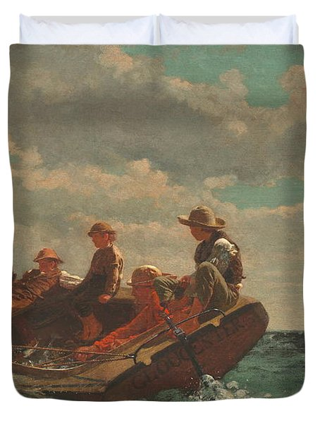 Duvet Cover featuring the painting Breezing Up A Fair Wind - 1876 by Winslow Homer
