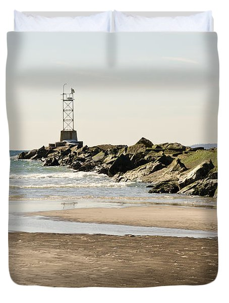 Breezy Point Jetty With Pools Duvet Cover by Maureen E Ritter