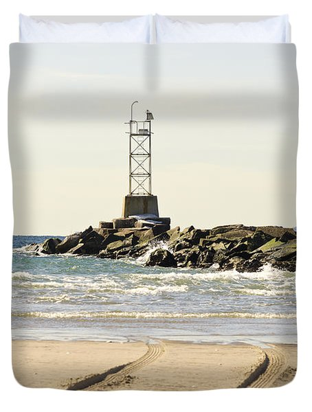 Breezy Point Jetty With Tracks Duvet Cover by Maureen E Ritter