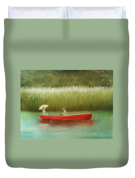 Duvet Cover featuring the painting Breezy Spring by Chris Fraser