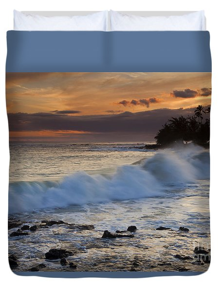 Brennecke Waves Sunset Duvet Cover by Mike  Dawson