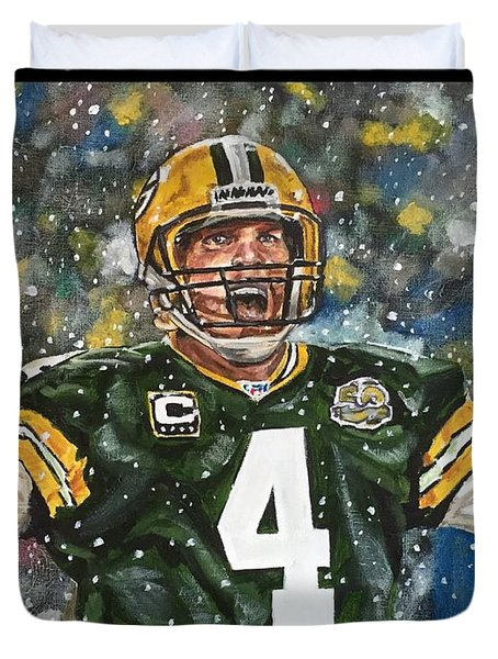 Duvet Cover featuring the painting Brett Favre by Joel Tesch