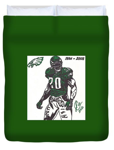 Duvet Cover featuring the drawing Brian Dawkins 3 by Jeremiah Colley