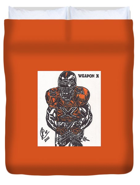 Duvet Cover featuring the drawing Brian Dawkins by Jeremiah Colley