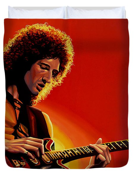 Brian May Of Queen Painting Duvet Cover