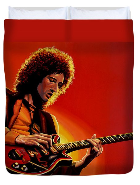 Brian May Of Queen Painting Duvet Cover by Paul Meijering