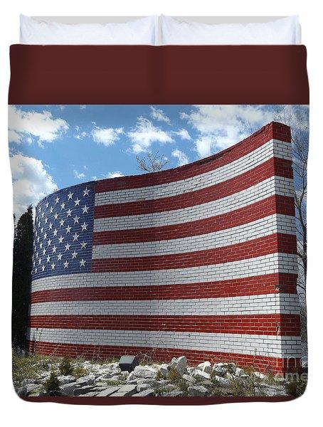 Brick American Flag Duvet Cover