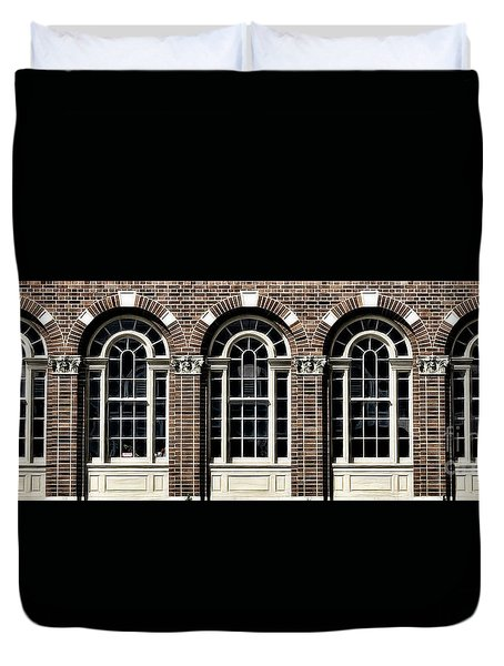 Duvet Cover featuring the photograph Brick Arch Windows by Brad Allen Fine Art