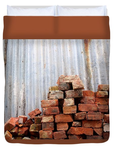 Duvet Cover featuring the photograph Brick Piled by Stephen Mitchell