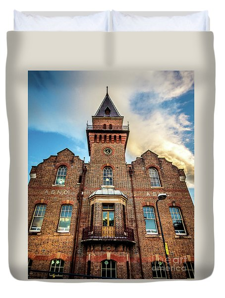 Duvet Cover featuring the photograph Brick Tower by Perry Webster