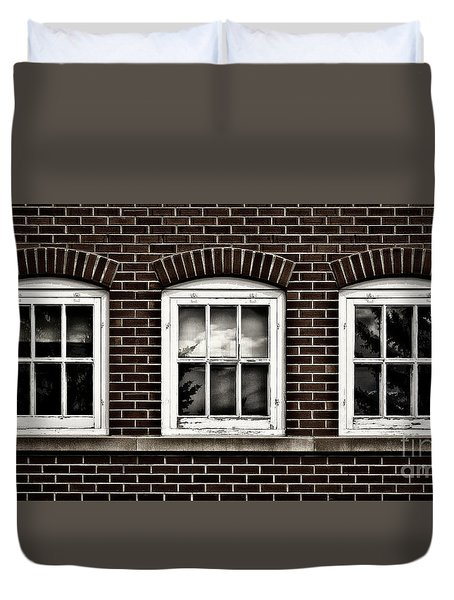 Duvet Cover featuring the photograph Brick Trio by Brad Allen Fine Art