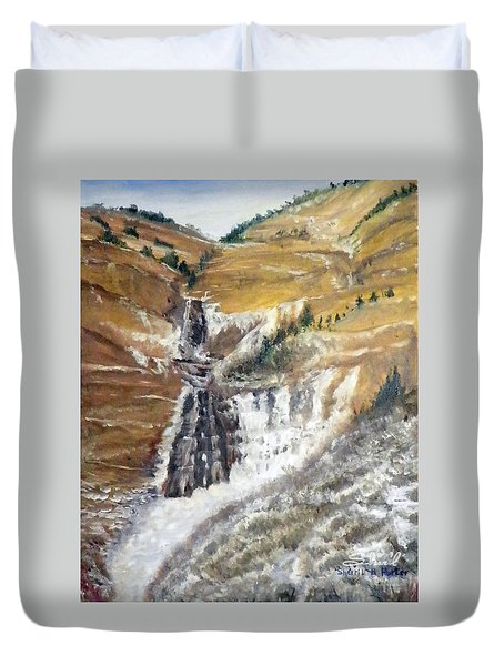 Bridal Veil Falls In Winter Duvet Cover