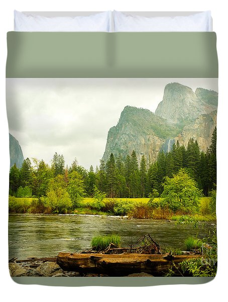 Duvet Cover featuring the photograph Bridal Veil Falls In Yosemite National Park by MaryJane Armstrong