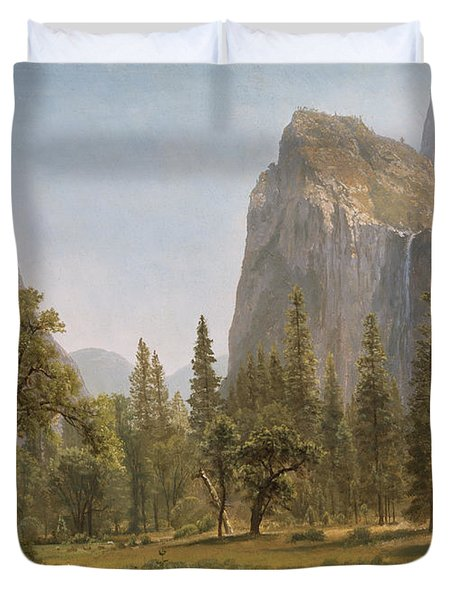 Bridal Veil Falls Yosemite Valley California Duvet Cover