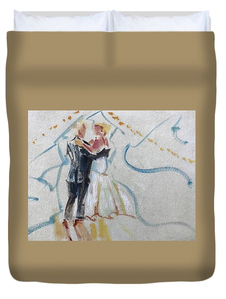 Bride And Father Duvet Cover by Carol Berning