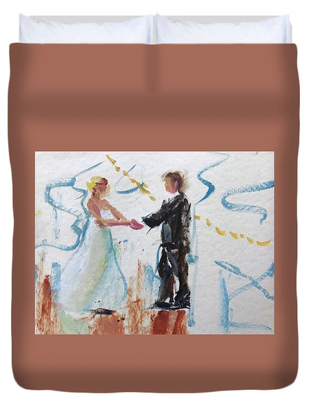 Bride And Groom First Dance Duvet Cover by Carol Berning