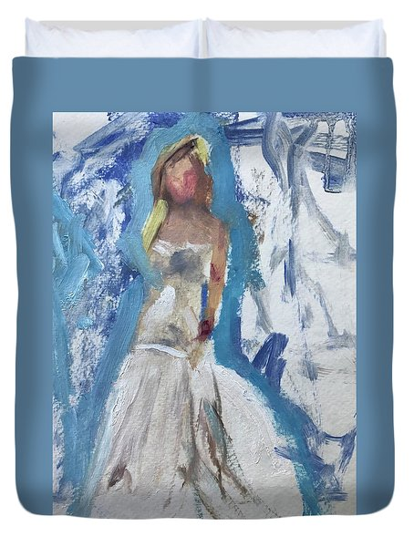 Bride Trying On Dress Duvet Cover by Carol Berning
