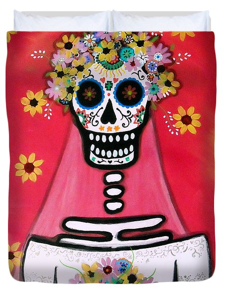 Duvet Cover featuring the painting Bridezilla Dia De Los Muertos by Pristine Cartera Turkus