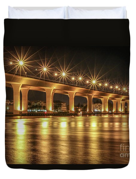 Bridge And Golden Water Duvet Cover