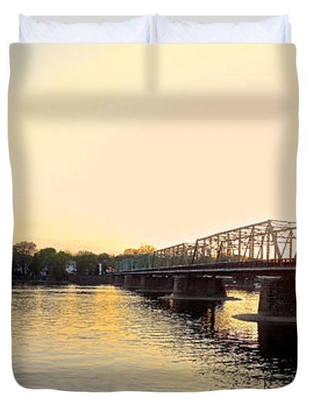 Bridge And New Hope At Sunset Duvet Cover