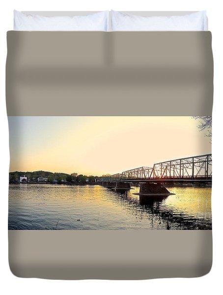 Bridge And New Hope At Sunset Duvet Cover