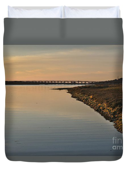 Bridge And Ria At Sunset In Quinta Do Lago Duvet Cover
