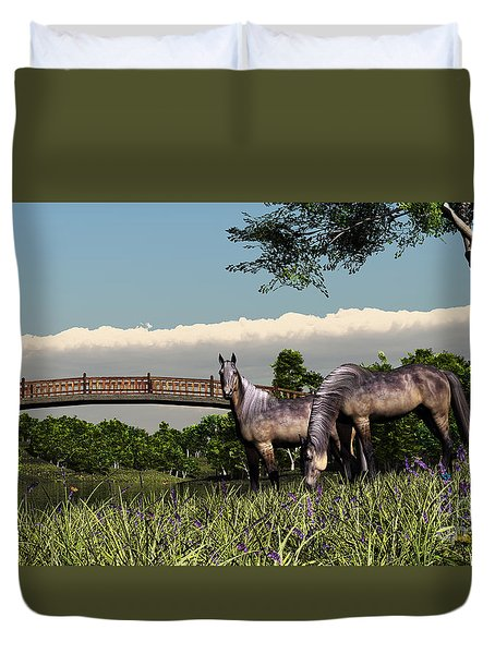 Bridge And Two Horses Duvet Cover