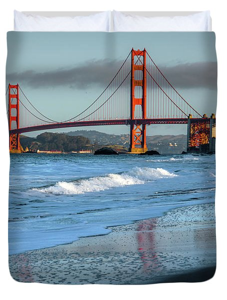 Bridge And Waves Duvet Cover