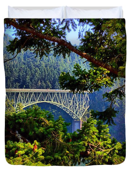 Bridge At Deception Pass Duvet Cover