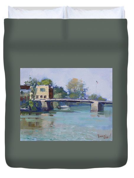 Bridge At Tonawanda Canal Duvet Cover