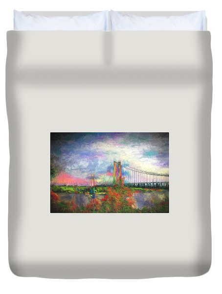 Bridge Blues Duvet Cover by Terry Cork