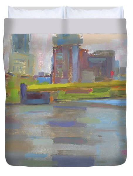 Duvet Cover featuring the painting Bridge by Chris N Rohrbach