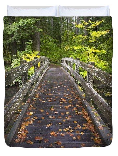 Bridge In A Park Duvet Cover by Craig Tuttle