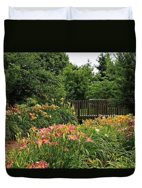 Duvet Cover featuring the photograph Bridge In Daylily Garden by Sandy Keeton
