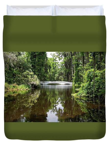 Duvet Cover featuring the photograph Bridge In The Garden by Sandy Keeton