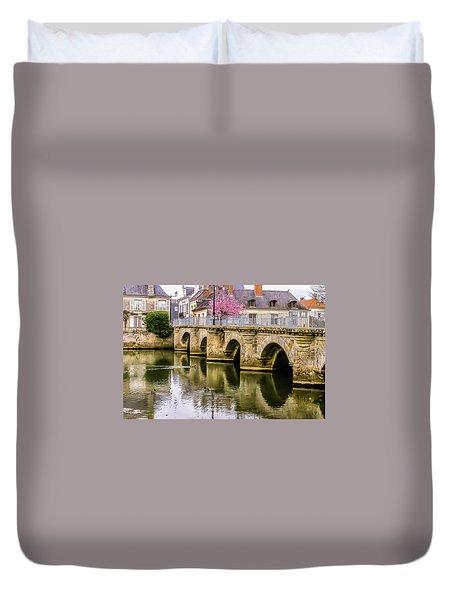 Bridge In The Loir Valley, France Duvet Cover