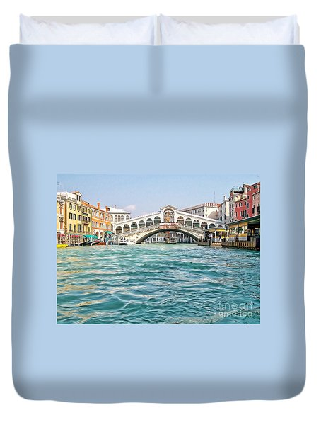 Duvet Cover featuring the photograph Bridge In Venice by Roberta Byram