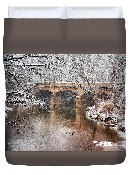 Bridge In Winter  Duvet Cover