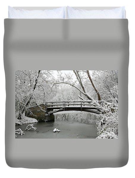 Bridge In Winter Duvet Cover