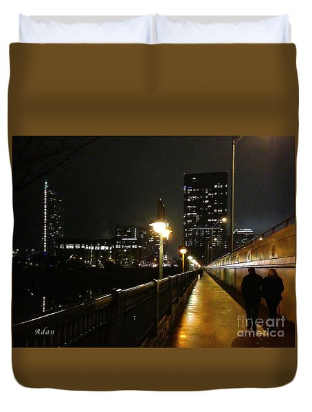 Duvet Cover featuring the photograph Bridge Into The Night by Felipe Adan Lerma