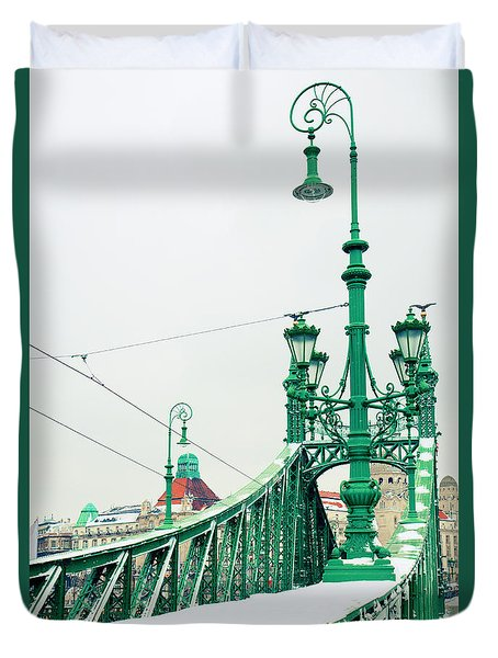 Bridge Of Liberty In Budapest Duvet Cover by Anastasy Yarmolovich